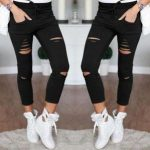 2018 Summer Skinny Women Denim Holes Destroyed Knee Pencil Pants Casual Trousers Black White Stretch Ripped