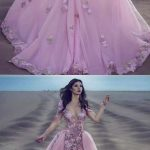 A-Line Deep V-Neck Illusion Back Pink Tulle Prom Dress with Appliques