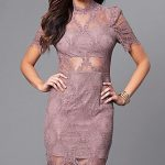 Lace High-Neck kurzes Partykleid