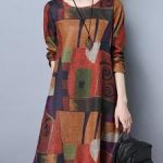 Orange Casual Abstract A-Linie Plus Size Print Kleid