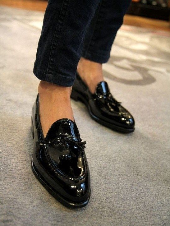 Semi Formal Leather Tassel Slip-On Loafers for Sale