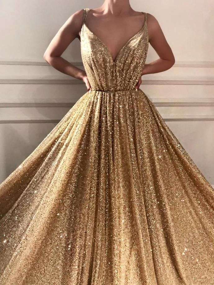 Sparkly Prom Dresses Spaghetti Straps A-line Gold Bling Long Sexy Prom Dress