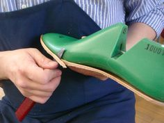 step one – affixing the insole to the last and trimming it.