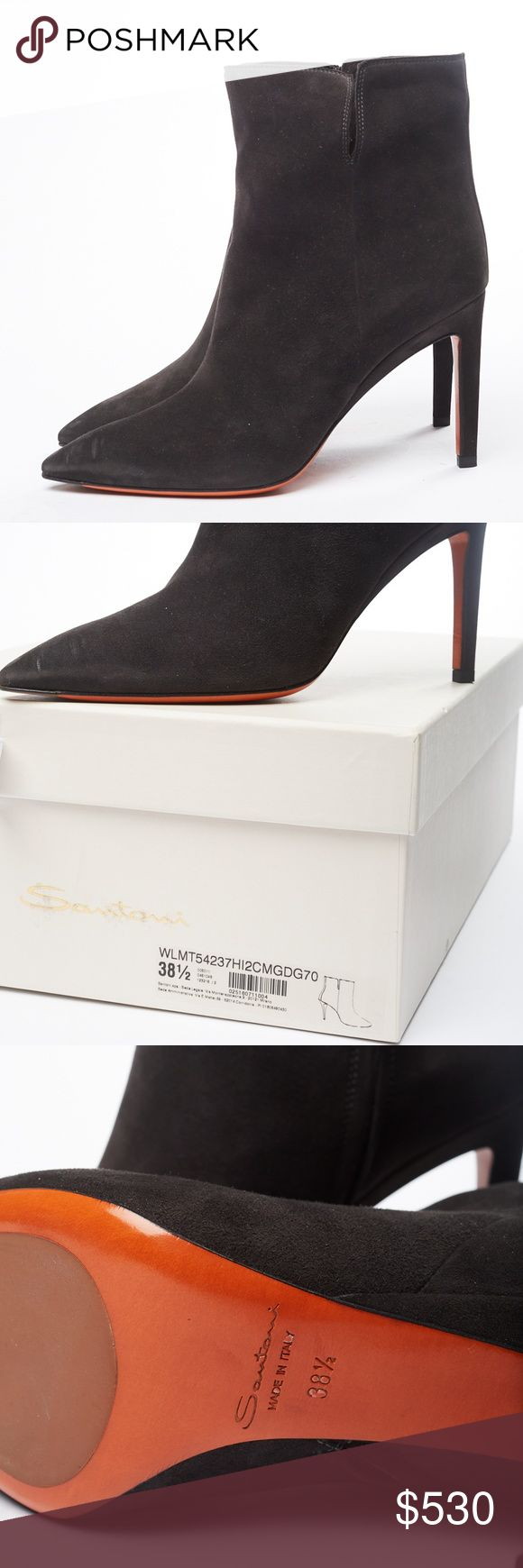 🆕️ NWT Santoni Black Suede High Heel Boot Absolutely gorgeous new with tags…