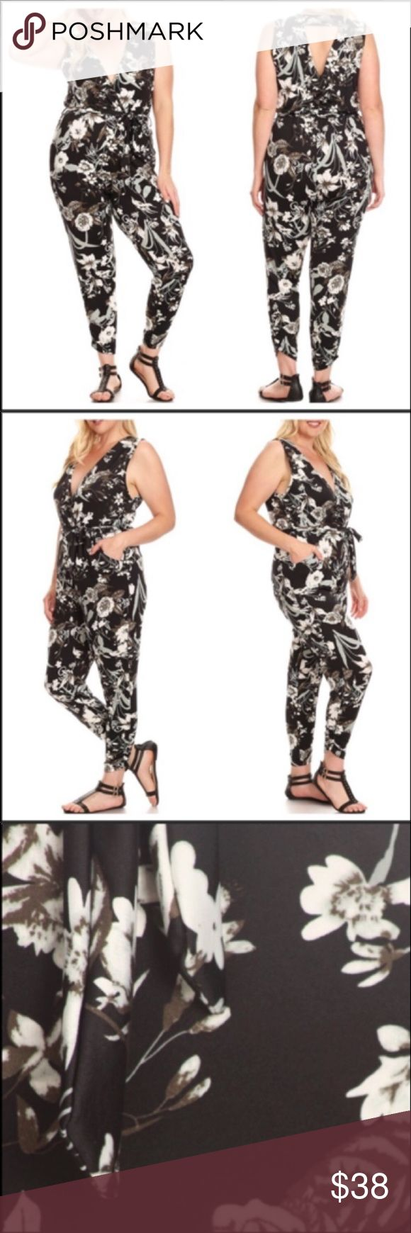 🎈Plus Size Jumpsuit🎈 Very trendy plus size jumpsuit. Black, gray and white…