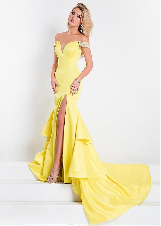 [110.59] Fabulous Satin Off-the-shoulder Neckline Mermaid Evening Dresses With Beads & Rhinestones