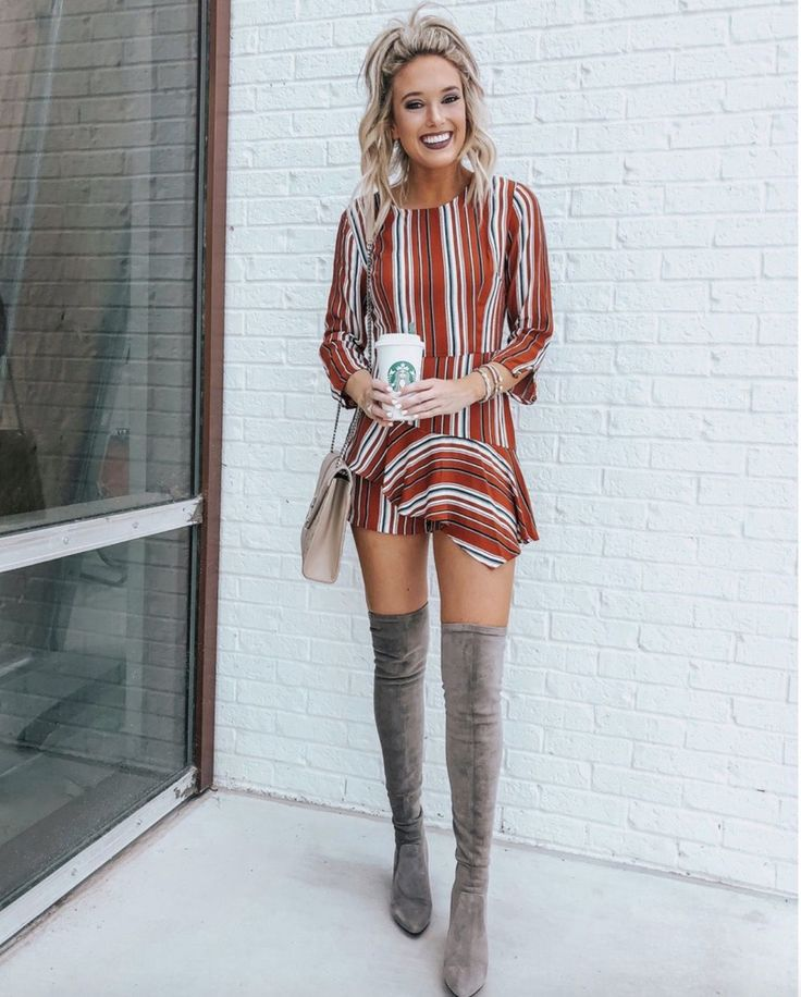 17+ Over The Knee Boot Outfit Looks To Get Inspired By: Styling grey over the kn…
