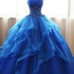[188.29] Exquisite Tulle & Organza Strapless Neckline Floor-length Ball Gown Quinceanera Dresses With Beaded Lace Appliques