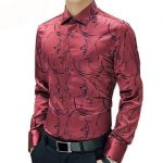 2017 New Arrival Luxury Brand Mens Formal Shirts Long Sleeve Floral Menliligla