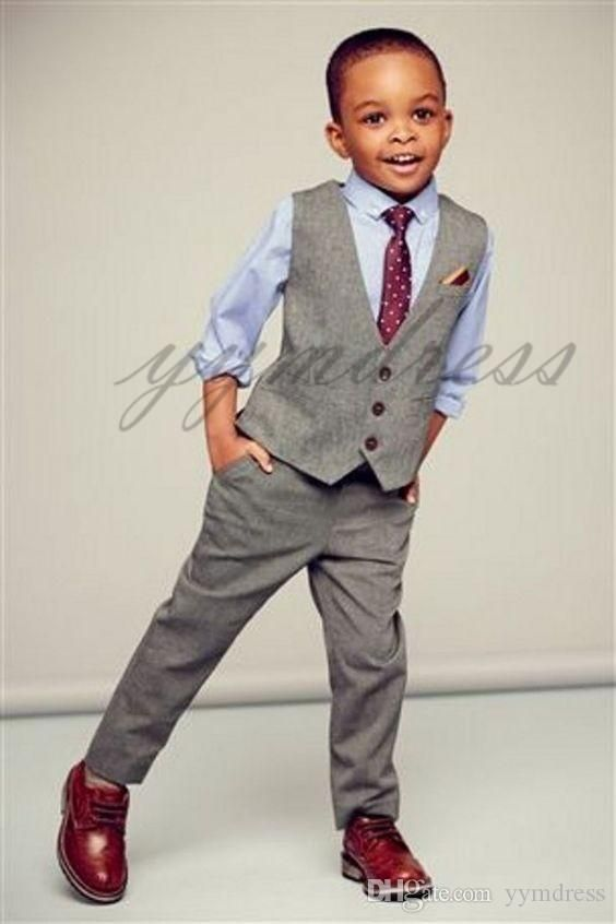 2019 Gray Boy Vest Single Breasted Lapel Children Wedding Vest Kids Birthday Party Suits Vest (Vest Pants )
