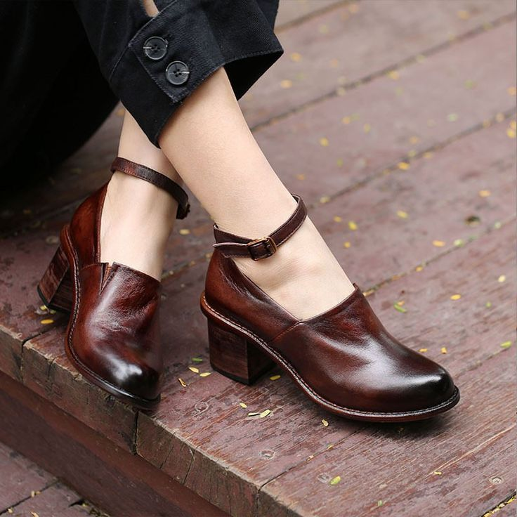 2019 women's genuine leather shoes vintage handmade women's shoes thick high-heeled low shoes low-top shoes 5611-5