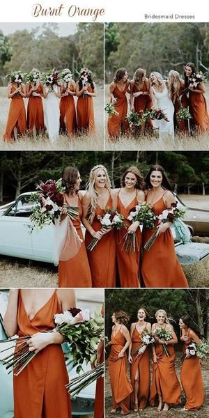 2020 Cheap Spaghetti Straps Simple Popular A-Line V-Neck Orange Fall Bridesmaid Dresses with Split , WG302 2020 Cheap Spaghetti Straps Simple Popular A-Line V-Neck Orange Fall Bridesmaid Dresses with Split , WG302