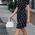 3 Day-To-Night Dresses You Need // Navy and white polka dot dress with shoulder ...
