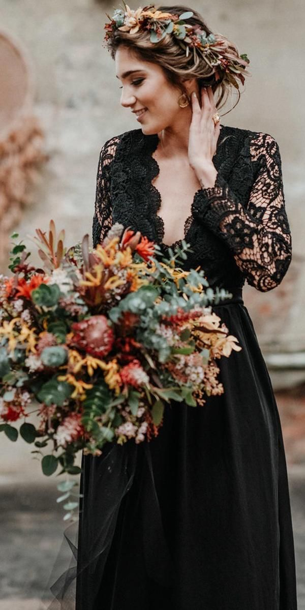 33 Beautiful Black Wedding Dresses That Will Strike Your Fancy