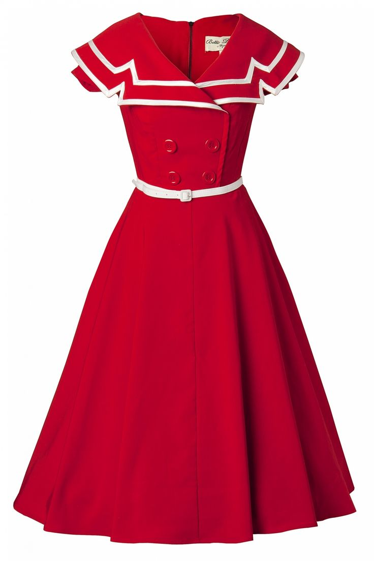 50s Captain Red Flare dress
