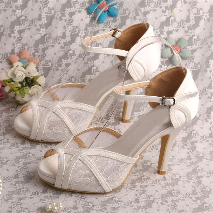 $86.99 Dresswe.com SUPPLIES Elegant Peep Toe Lace Stiletto High Heels Wedding Shoes