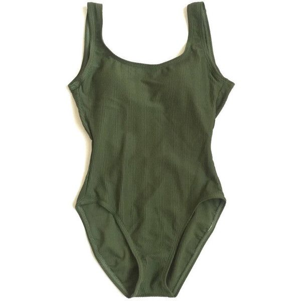 90's One Piece Ribbed Olive Green Swimsuit 1 Piece Bathing Suit. ($61) ❤ l…