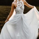 A-LINE HALTER SLEEVELESS CHIFFON LONG BEACH WEDDING DRESS WITH LACE WD304 #weddi...