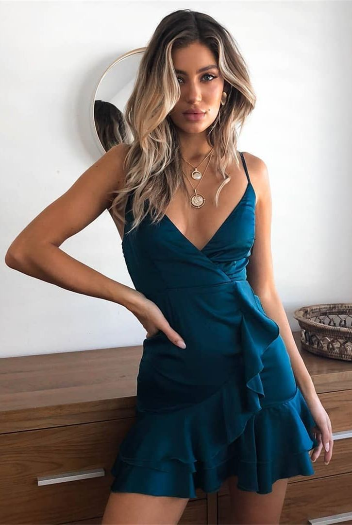 A-Line Spaghetti Straps Short Peacock Blue Homecoming Cocktail Dress with Ruffles