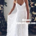 A-Line Straps Backless Court Train Lace Beach Wedding Dresses, TYP0858 A-Line Straps Backless Court Train Lace Beach Wedding Dresses, TYP0858