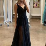 A Line V Neck Sparkly Sequins Black Long Prom Dresses, Black V Neck Sequins Long Evening Dresses