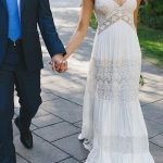 A-Line/Princess Lace V-neck Ruched Floor-Length Short Sleeves Wedding Dresses