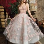 A-line dress with colorful embroidered flowers ,deep v evening dress,short homecoming dress ,colorful ball gowns