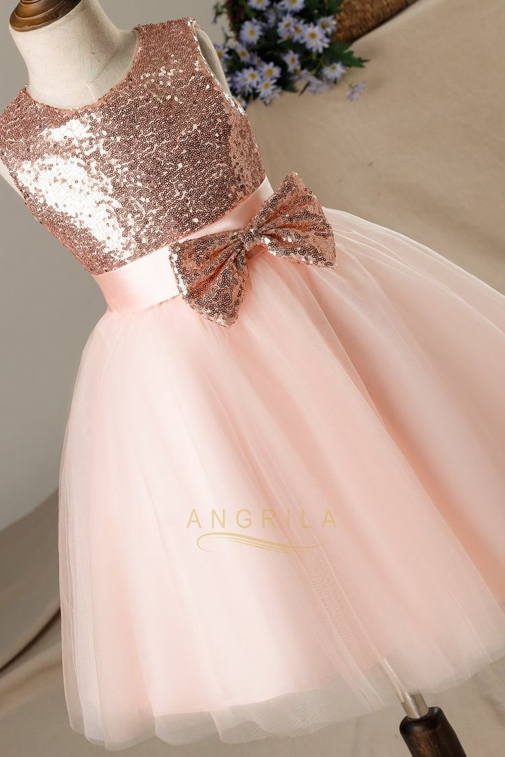 A-line/Princess Sequined Sleeveless Flower Girl Dresses with Bows – Angrila