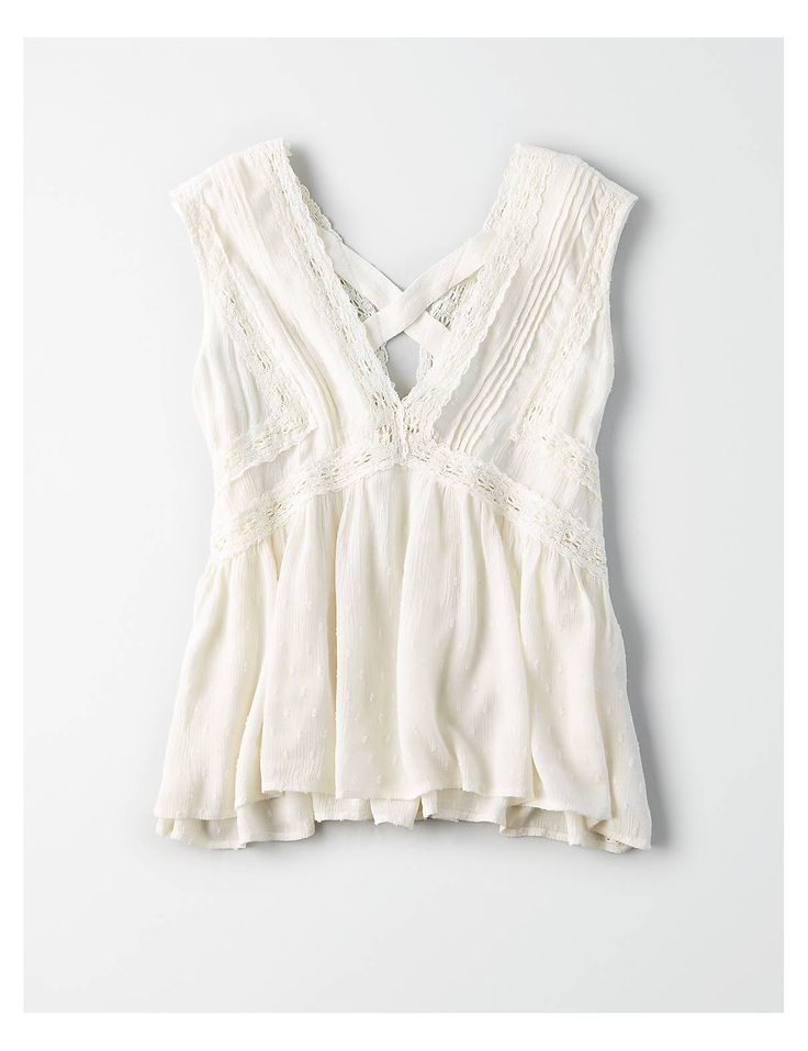 AE Lace Shell Tank Top, White | American Eagle Outfitters
