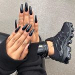 ALL BLACK EVERYTHING 🖤♠️♣️. Long black coffin nails. Black sneakers /...
