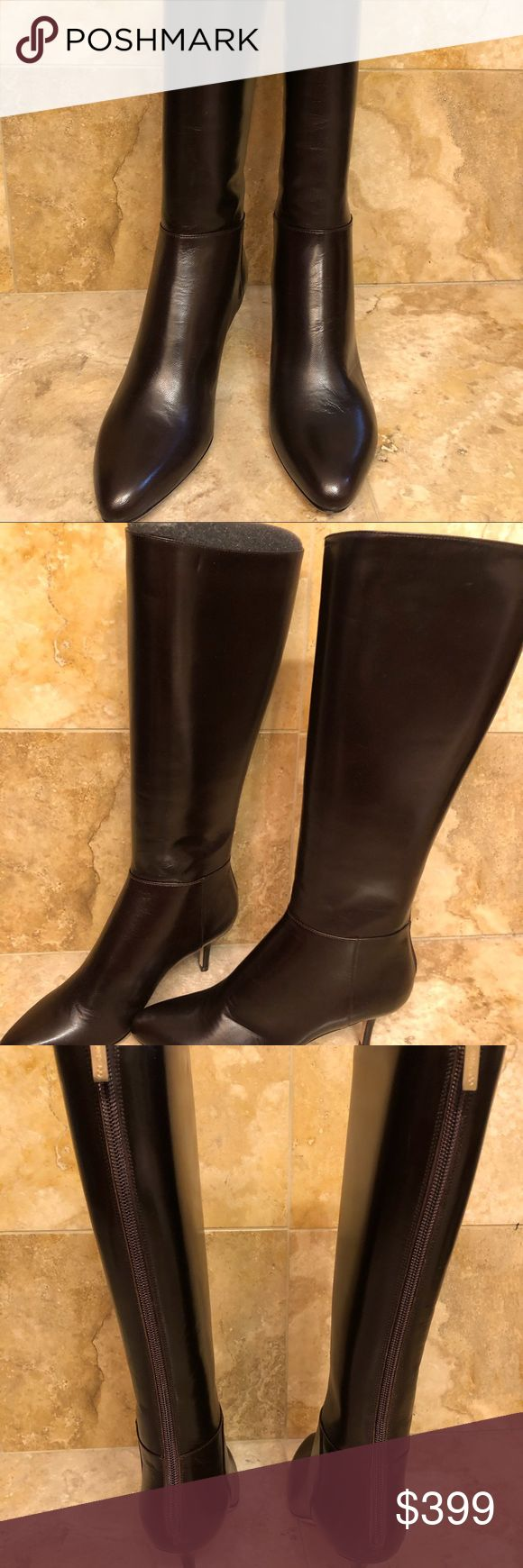 AUTHENTIC Jimmy Choo Dk. Brown Leather Boots Jimmy Choo dark brown leather boots…