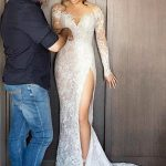 Absorbing Gorgeous Sheath Column Sweep Brush Wedding Dresses Train Slit Bridal Gown