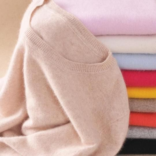 Autumn Winter Cashmere Sweater Female Pullover O Neck V Neck Brief Sweater Women Solid Color Sheep Lady Basic Sweater