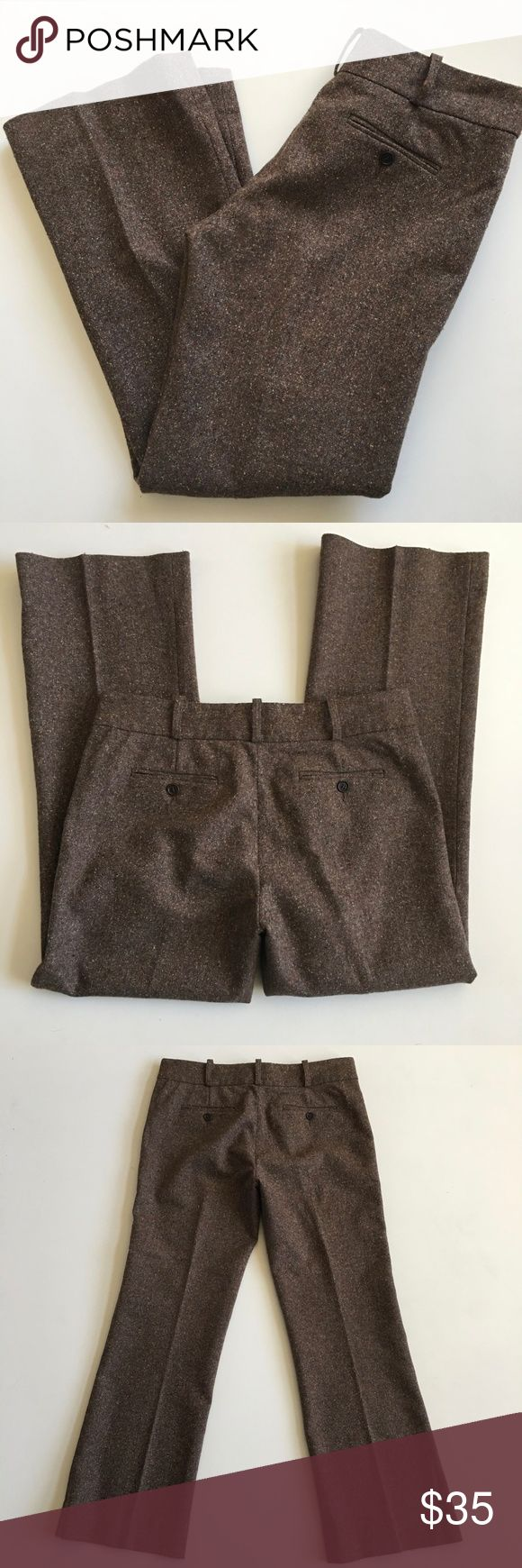 BCBGMaxazria Brown Wool Blend Tweed Trousers 8 Brand:  BCBGMaxazria  Gently Used…