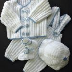 Baby Boy Christening Outfit Crochet Pattern, Sweater Jacket, Pants, Hat, Booties