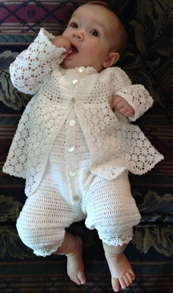 Baby Boy Christening Outfit Crochet Pattern with Lace Jacket, Rompers, Bonnet, and Booties