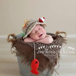Baby Fishing Fisherman Crochet Hat & Fish in Oatmeal and Taupe, Newborn, 0-3, 3-6, Photography Prop - MADE TO ORDER