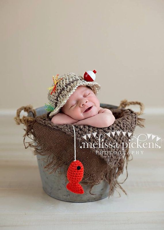 Baby Fishing Fisherman Crochet Hat & Fish in Oatmeal and Taupe, Newborn, 0-3, 3-6, Photography Prop – MADE TO ORDER