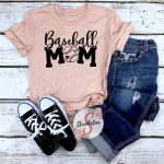 Baseball Mom with Custom Number - Baseball Shirt - More color Options Available - Adult Sizes XS-3XL