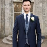 Benetti Micro Pattern 3 Piece Navy Suit
