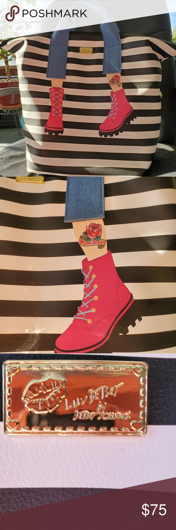 Betsey Johnson tote backpack stripe pink boots NWT Betsey Johnson tote bag or ba…