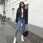 Biker Jacket Hoodie White Ankle Boots Model off Duty street style