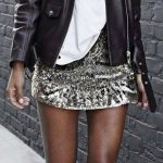 Black Bicker Jacket / White Tee / Sequins Skirt / White Sneakers by lauri