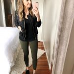 Black Bomber jacket Black long sleeve tee Olive pants Black keds
