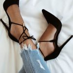 Black Lace-up Heels Women Shoes, FS116 from FashionGirlShoes