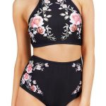 Black Retro High-Waisted Halter Padded Bathing Suit With Rose Printing - CL17YKS...