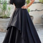 Black embroidery evening gown