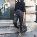 Black faux leather paperbag waist trousers