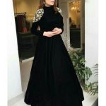 Black tapeta silk heavy embroidered partywear gown