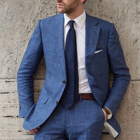 Blue Beach Linen Men Suit Slim Fit 2 Piece Tuxedo Custom Blazer Groom – myshop…